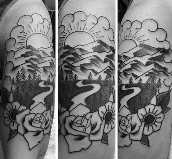Remarkable Traditional Mountain Tattoos For Males