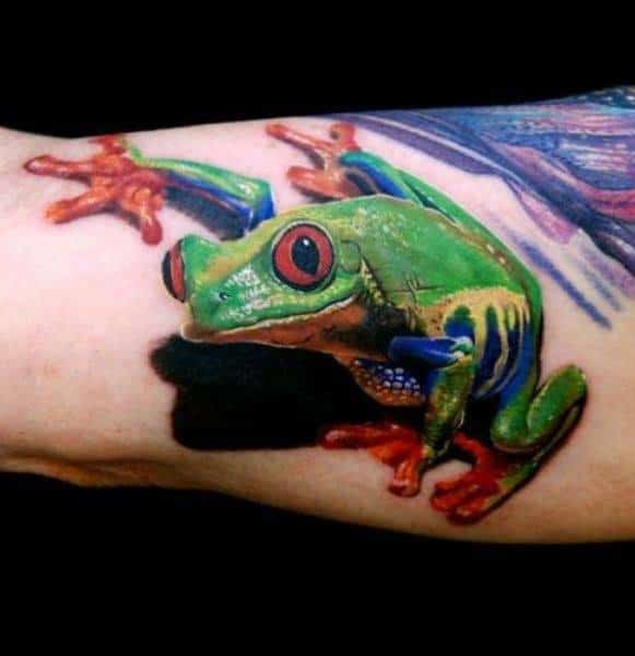 Remarkable Tree Frog Tattoos For Males On Outer Arm