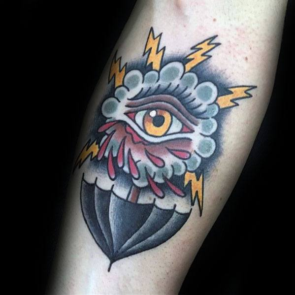 Remarkable Umbrella Tattoos For Males On Inner Forearm