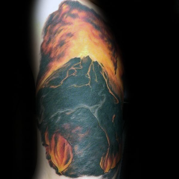 Remarkable Volcano Tattoos For Males On Arm