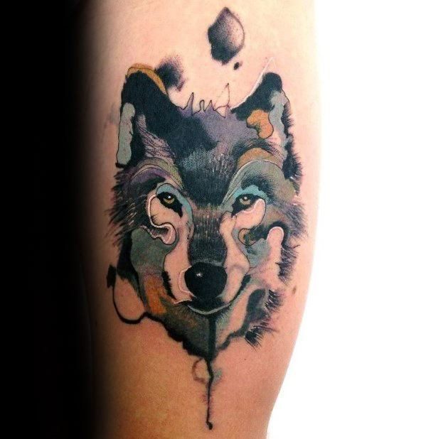 Remarkable Wolf Watercolor Tattoos For Males