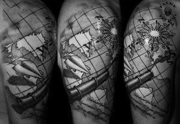 Remarkable World Map Telescope Tattoos For Males Half Sleeve