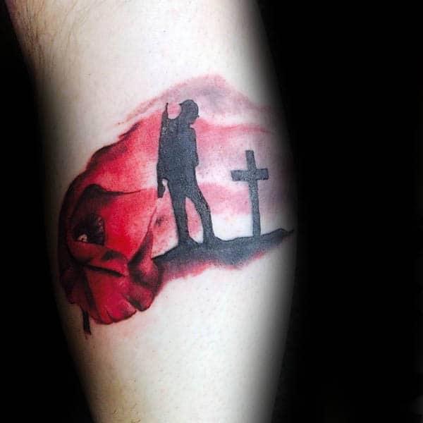 Rememberance Fallen Solider Silhouette Mens Cross Tattoo