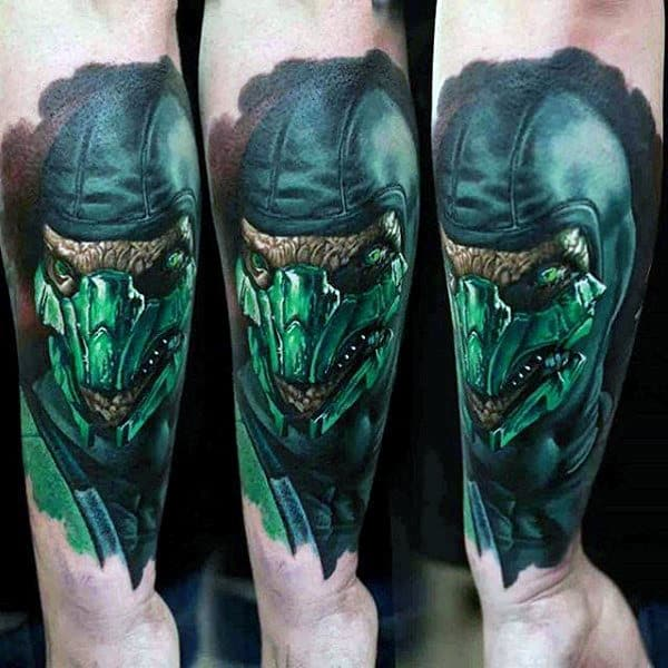 Reptile Mens Forearm Mortal Kombat Sleeve Tattoos