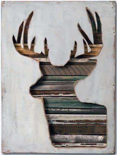 Repurposed Wood With Deer Frame Bachelor Pad Wall Art