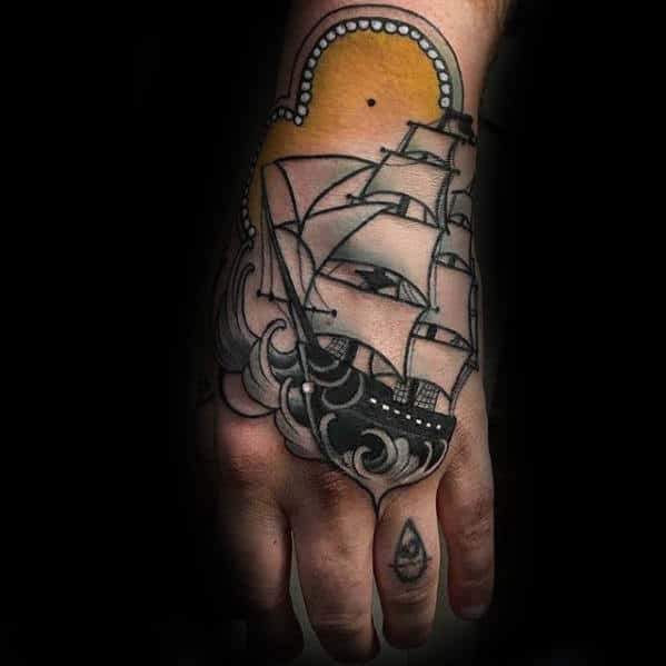 Retro 3d Ship Sailing On Ocean Water Mens Hand Tattoo