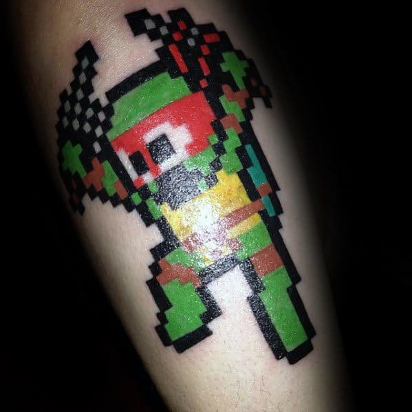 Retro 8 Bit Ninja Turtle Leg Tattoos For Men