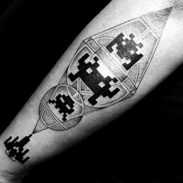 Retro Arcade Game Mens Awesome Pixel Tattoo Ideas
