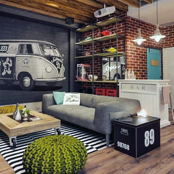 Retro Bachelor Pad Living Rooms