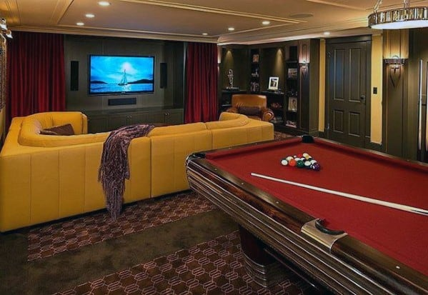 60 basement man cave design ideas for men manly home for Retro basement ideas