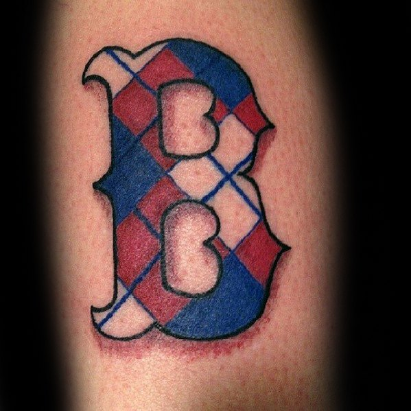 Retro Blue And Red Ink Small Boston Red Sox Male Tattoos On Arm