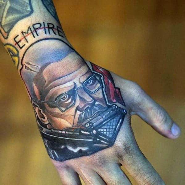 Retro Breaking Bad Hand Tattoos For Men