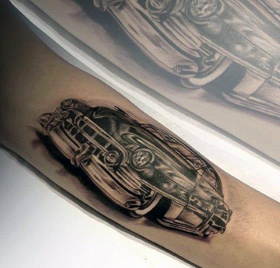 Retro Cadillac Car Guys Inner Forearm Tattoo