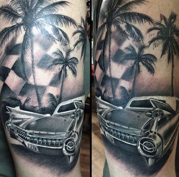 Retro Cadillac Classic Car Guys Arm Tattoos