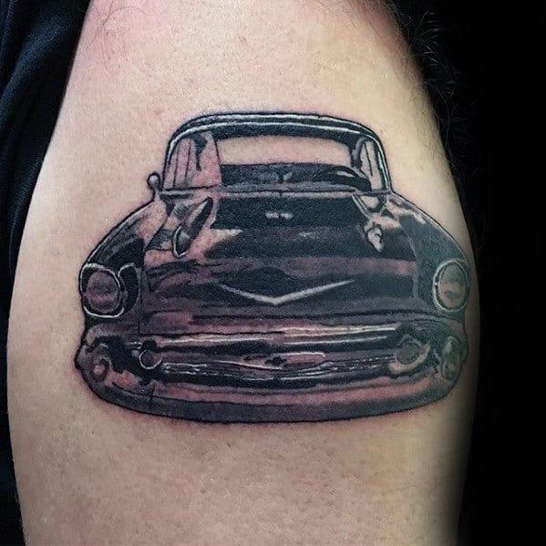 Retro Chevy Car Guys Outer Forearm Tattoo Inspiration