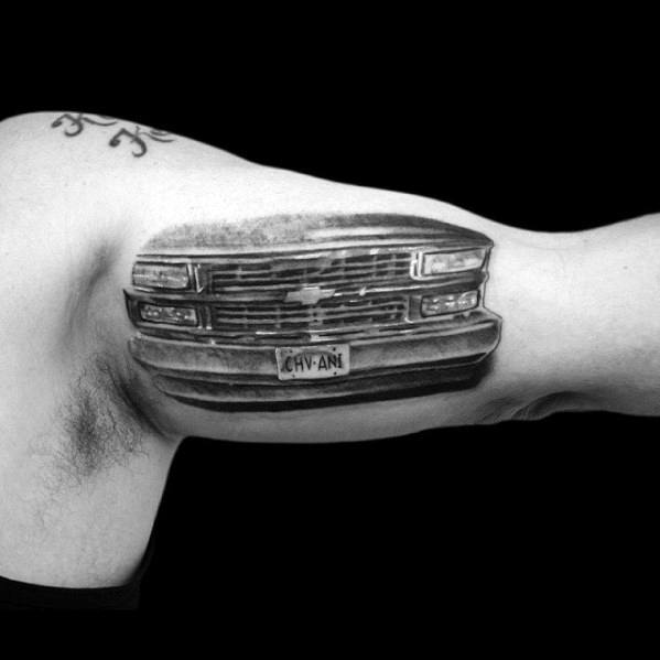Retro Chevy Truck License Plate Mens Inner Arm Bicep Tattoos