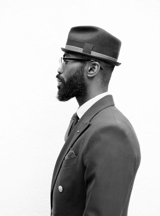Retro Classy Black Mens Beard Style Ideas With Medium Length