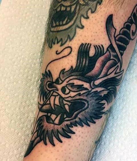 Retro Dragon Head Dagger Small Mens Tattoo Ideas On Forearm