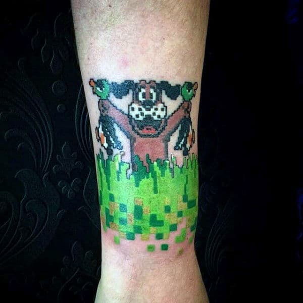 Retro Duck Hunt Video Game Mens Wrist Tattoos