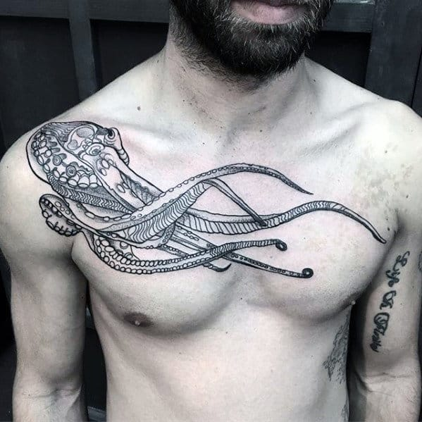Retro Floating Octopus Male Upper Chest Tattoos