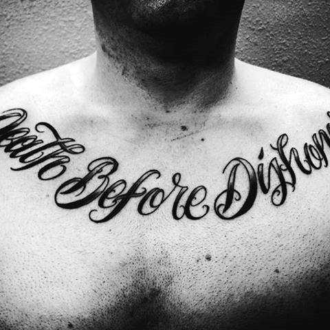 Retro Font Death Before Dishonor Mens Upper Chest Tattoo