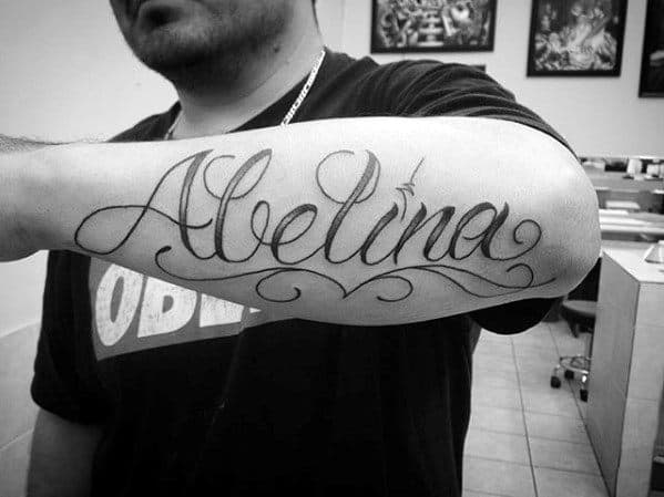 Retro Font Script Outer Forearm Name Tattoos For Males