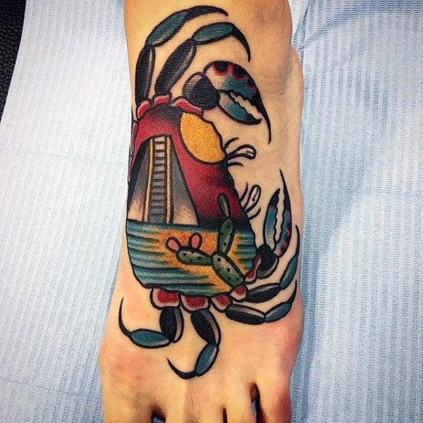 Retro Guys Crab Tattoo On Foot