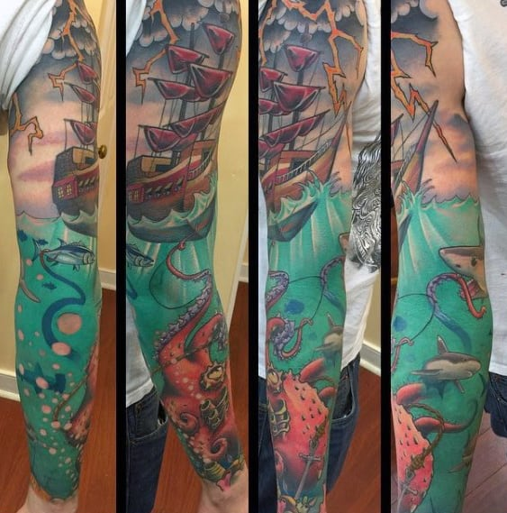 Retro Guys Ocean Sleeve Sailing Ship And Octopus Tattoo