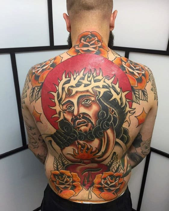 Retro Guys Old School Jesus Traditional Back Tattoo Designs