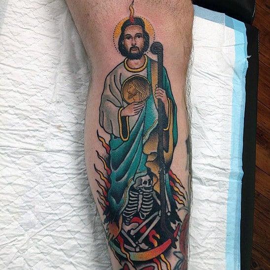 Retro Guys Skeleton St Jude Lower Leg Tattoo