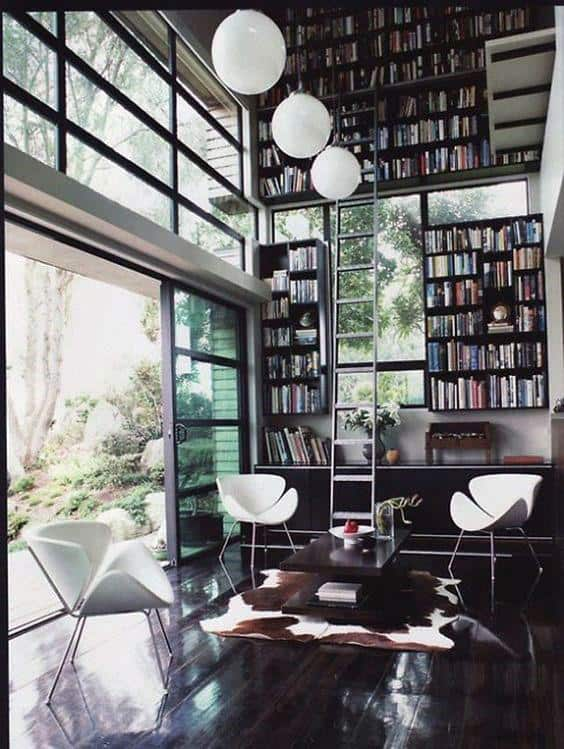 Retro Home Library Design Ideas