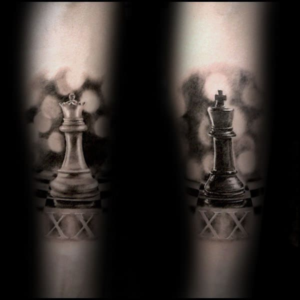 Retro King Chess Piece Mens Forearm Tattoos