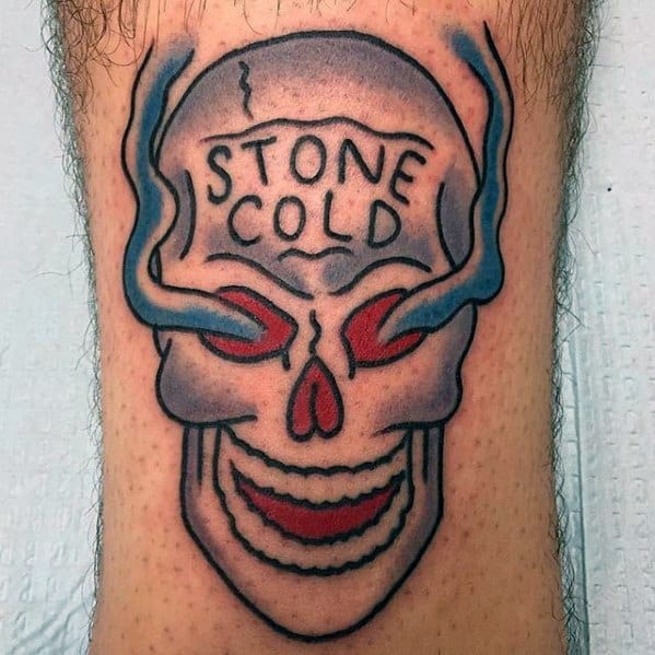 Retro Leg Stone Cold Skull Small Mens Wrestling Tattoo Design Ideas