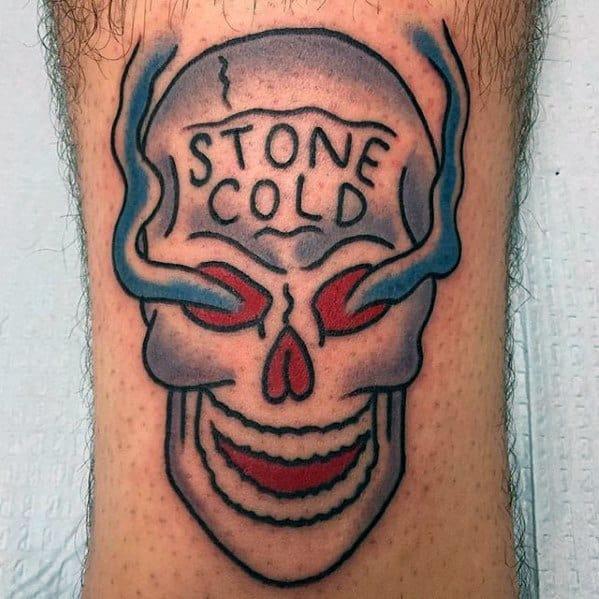 Retro Leg Stone Cold Skull Small Mens Wrestling Tattoo Design Ideas