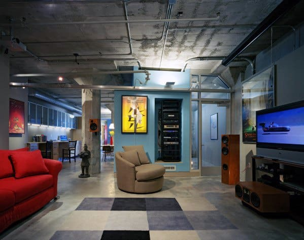 Retro Male Basement Man Cave Design Ideas