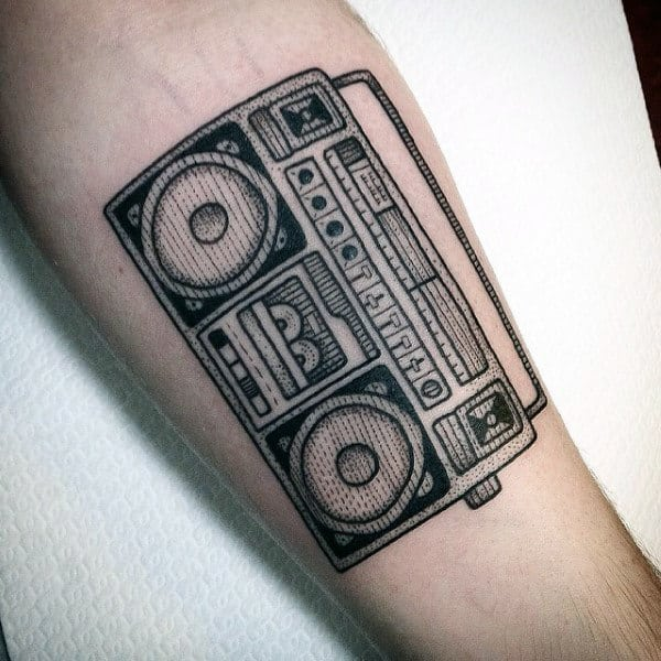 Retro Male Boombox Black Ink Inner Forearm Tattoo Inspiration