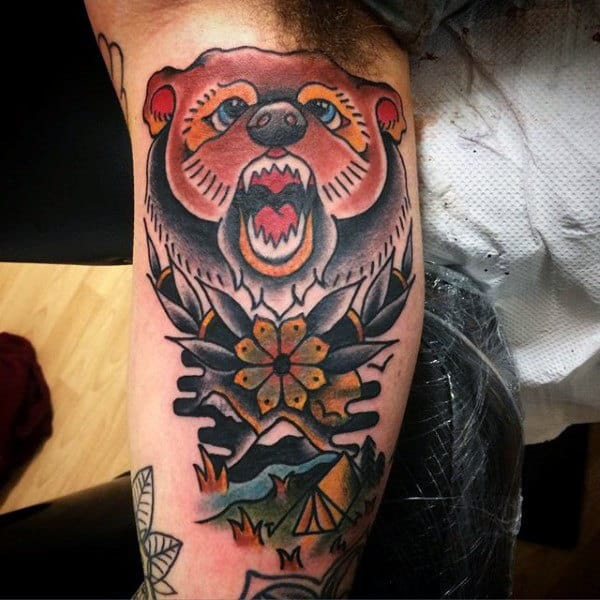 Retro Male Camping Themed Traditional Bear Inner Arm Bicep Tattoos