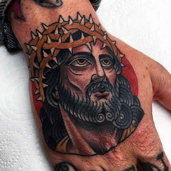 Retro Male Jesus Crown Of Thorns Tattoo On Hand