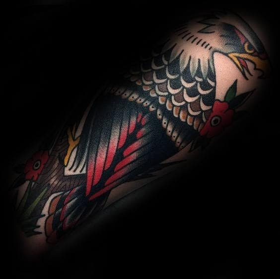 Retro Masculine Guys Old School Tattoo Of Traditional Eagle On Forearms