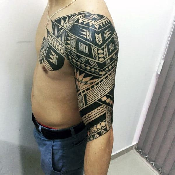 Retro Mens Black Ink Polynesian Half Sleeve Tribal Tattoo