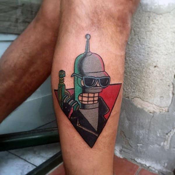 Retro Mens Futurama Bender Robot Tattoo On Leg