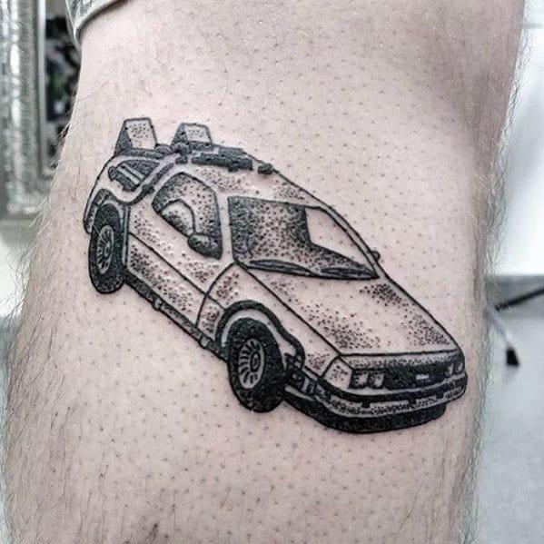 Retro Mens Small Back To The Future Delorean Tattoo On Leg