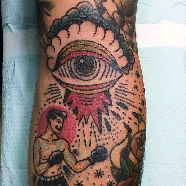 Retro Mens Traditional Eye Leg Tattoo Designs