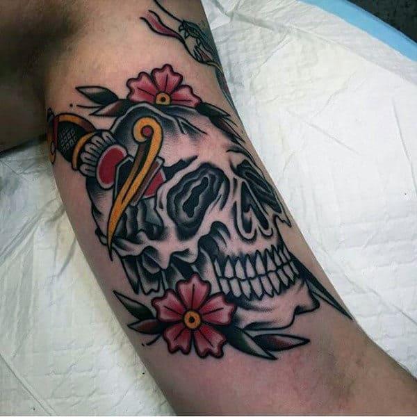 Retro Mens Traditional Skull Dagger Inner Arm Bicep Tattoos