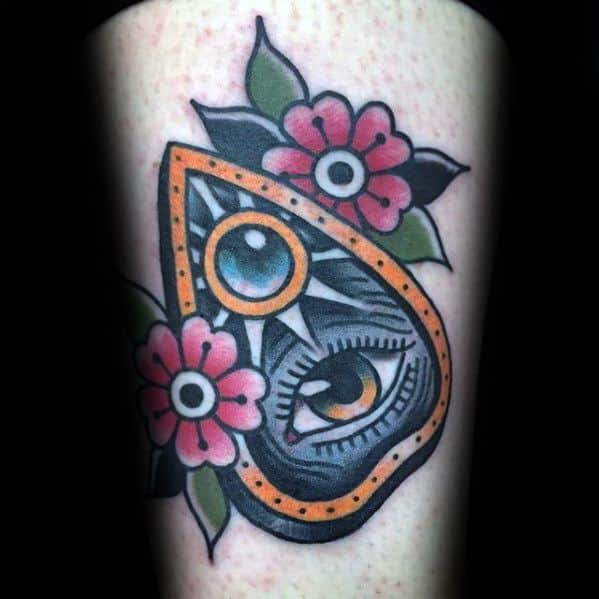 Retro Old School Flower Planchette Guys Thigh Tattoos