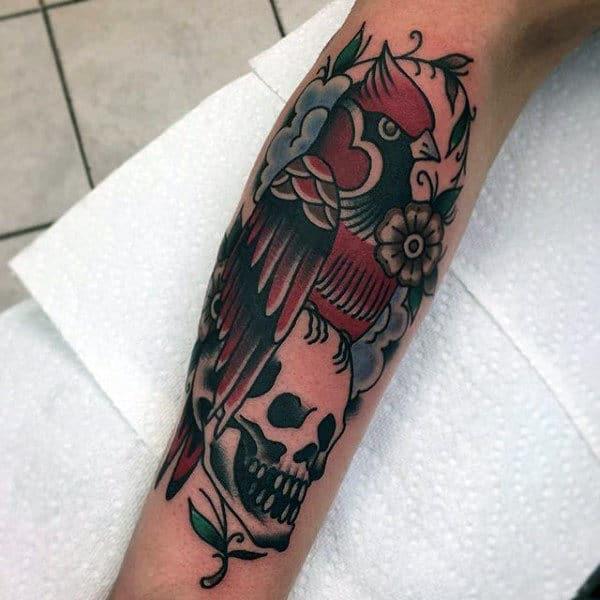 Retro Old School Guys Cardinal Bird Skull Tattoo On Arm