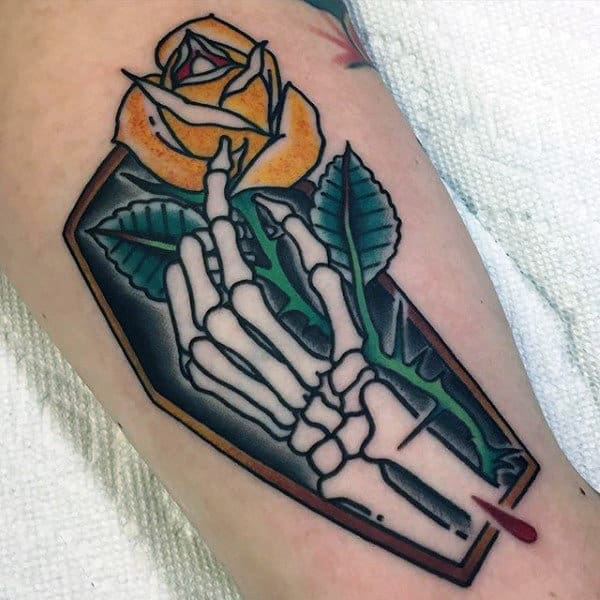 Retro Old School Guys Skeleton Hand Coffin With Yellow Rose Flower Arm Tattoo