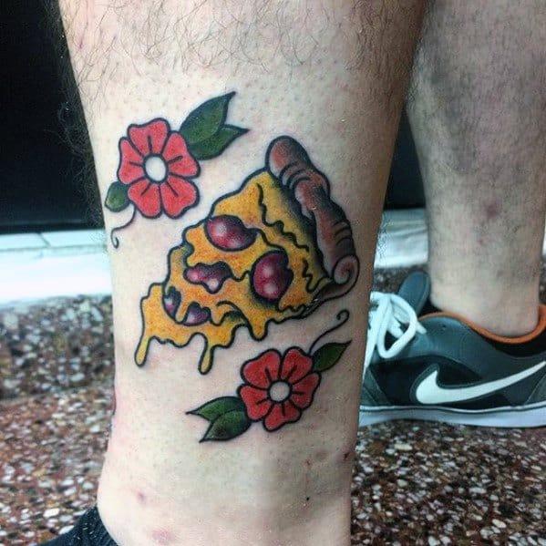 Retro Old School Lower Leg Pizza Guys Tattoo Ideas