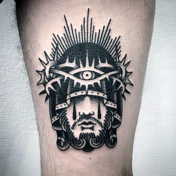 Retro Old School Mens Traditional Jesus Forearm Tattoos