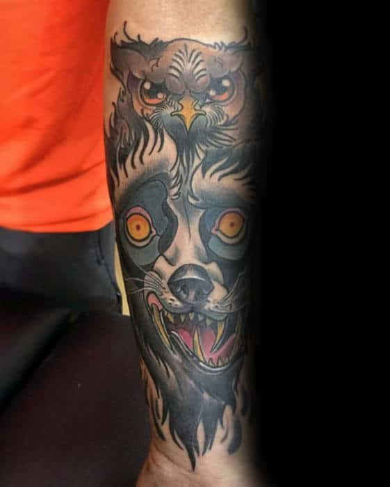 Retro Old School Wolf With Owl Guys Inner Forearm Tattoo Inspiration